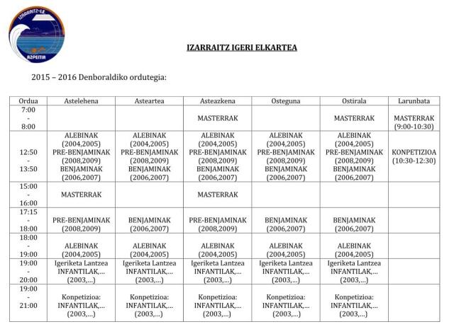2015-2016 Entrenamenduen ordutegia
